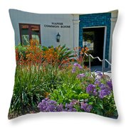 Flowers In Front Of Napier Common Room At Pilgrim Place In Claremont-california Throw Pillow