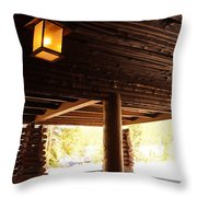 Front Porch Of Old Faithful Inn Throw Pillow