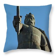 Front View Of King Afonso The Third Statue. Portugal Throw Pillow