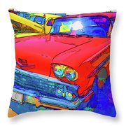 Front View Of Red Retro Car  Throw Pillow