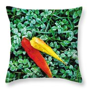 Frost And Leaves Throw Pillow