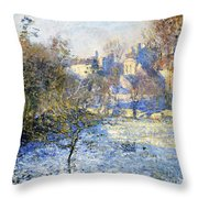 Frost Throw Pillow by Claude Monet