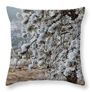 Frost-covered Pine Throw Pillow