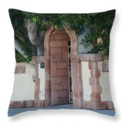 Frosted Almond Garden Wall With Red Brick Entrance Throw Pillow