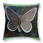 Frosted Butterfly Throw Pillow by Kathy DesJardins