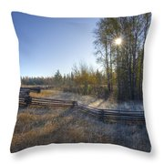 Frosted Fence Throw Pillow