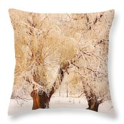 Frosted Golden Trees Throw Pillow