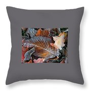 Frosted Painted Leaves Throw Pillow