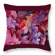Frosted Red Oak Leaves Throw Pillow