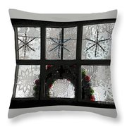 Frosted Windowpanes Throw Pillow