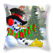 Frosty And Friends Throw Pillow