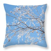 Frosty Branch Throw Pillow