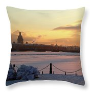 Frosty Evening In The City On The River Throw Pillow