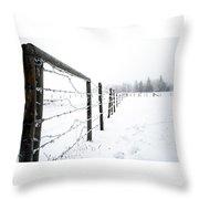 Frosty Fenceline Throw Pillow