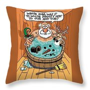 Frosty In A Hot Tub Throw Pillow