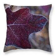 Frosty Maroon Leaf Throw Pillow