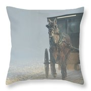 Frosty Morning In Amishland Throw Pillow