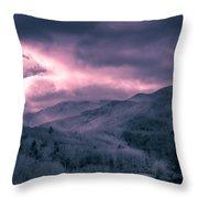 Frosty Mountain Sunrise Throw Pillow