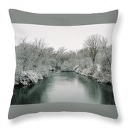 Frosty River Throw Pillow