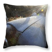 Frosty Tractor Throw Pillow