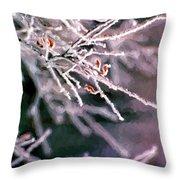 Frosty Twigs Throw Pillow