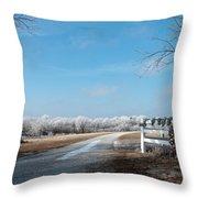Frosty Wreath Throw Pillow