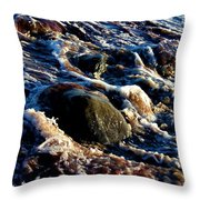 Froth On Rocks Throw Pillow