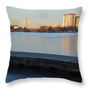 Frozen Dock On The Charles River Throw Pillow