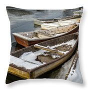 Frozen Boats Throw Pillow