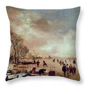 Frozen Canal Scene  Throw Pillow by Aert van der Neer