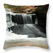 Frozen Creation Falls Throw Pillow