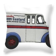 Frozen Custard On Wheels Throw Pillow