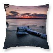 Frozen Cut River Dam Throw Pillow