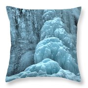 Frozen Falls Along The Icefields Parkway Throw Pillow