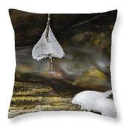 Frozen Ice Bells Throw Pillow by Ken Barrett