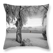 Frozen Landscape Of The Menominee North Pier Lighthouse Throw Pillow