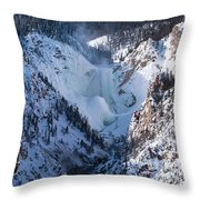 Frozen Lower Falls Throw Pillow