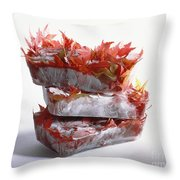 Frozen Maple Leaves Throw Pillow