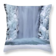Frozen Multnomah Falls Closeup Throw Pillow
