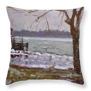 Frozen Niagara River Throw Pillow