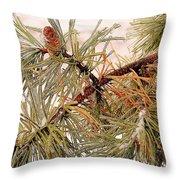 Frozen Pine Throw Pillow
