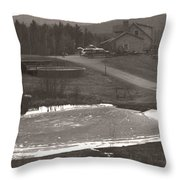 Frozen Pond Camp Ground Panorama Throw Pillow