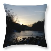 Frozen Pool At Sunset Throw Pillow