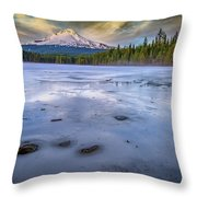 Frozen Trillium Throw Pillow