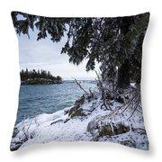 Frozen View Of Ellingson Island Throw Pillow