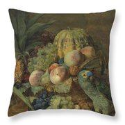 Fruchtestillleben Mit Einem Amazonenpapagei By Ferdinand Georg Waldmuller, 1824 Throw Pillow