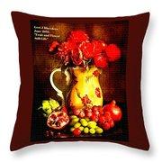 Fruit And Flower Still-life H A Throw Pillow