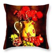 Fruit And Flower Still-life H B Throw Pillow