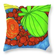 Fruit In A Blue Bowl Throw Pillow