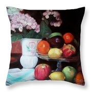Fruit On Glass Dish II Throw Pillow